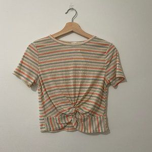 NWOT Gaze Striped Color Crop Top Twist Front
